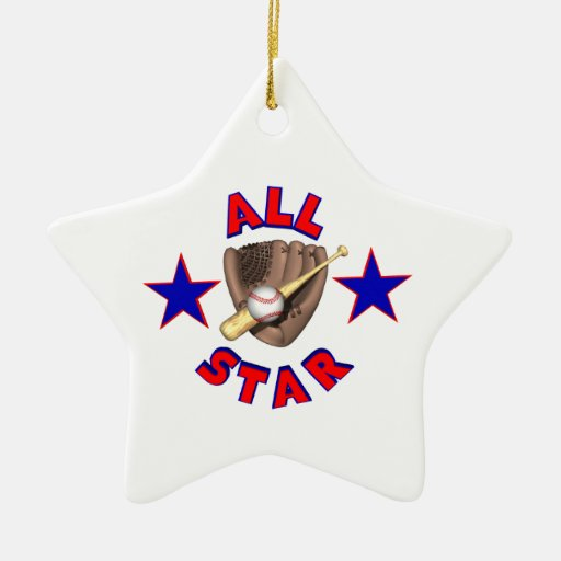 all star baseball player graphic christmas ornament