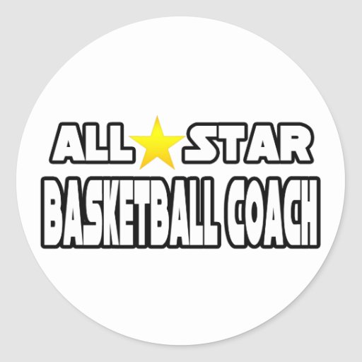 All Star Basketball Coach Round Stickers