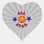 all star basketball heart stickers
