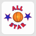 all star basketball square stickers