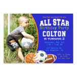 Hand shaped All Star Boys Sports Birthday Party Invitation