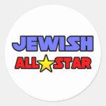 All Star judío Pegatina Redonda