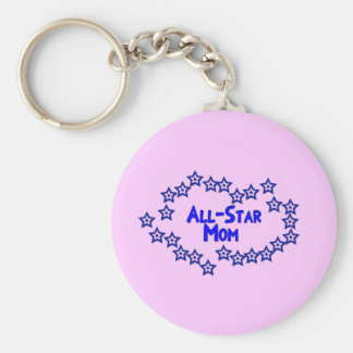 All Star Mom Basic Round Button Keychain