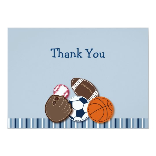 All Star MVP Sports Ball Flat Thank You Note Cards
