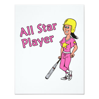 All Star Player - Girl 4.25x5.5 Paper Invitation Card