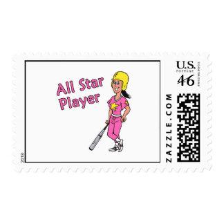 All Star Player - Girl Postage Stamp