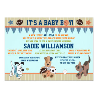 All-Star Puppies Baby Boy Shower Invitation