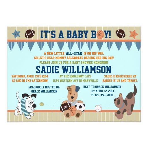 All-Star Puppies Baby Boy Shower Invitation