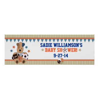 All-Star Puppies Baby Shower Banner Poster
