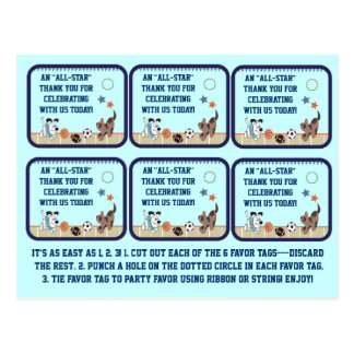 All-Star Puppies Baby Shower Party Favor Tags Postcard