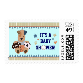 All-Star Puppies Baby Shower Postage Stamp