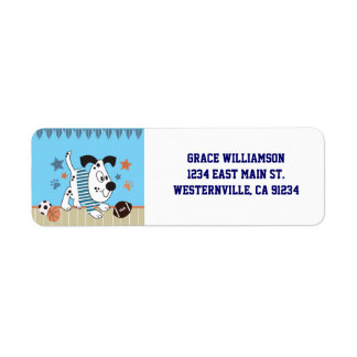 All-Star Puppies Baby Shower Return Address Labels