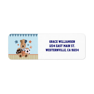 All-Star Puppies Baby Shower Return Address Labels