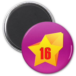All Star Sixteen years old! Birthday 2 Inch Round Magnet