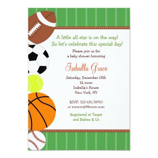 all star sport baby shower invitation zazzle
