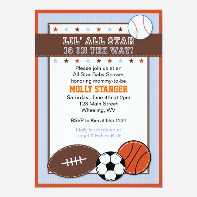 Custom sports baby shower invites templates babyfavors4u all star sport baby shower invitation filmwisefo