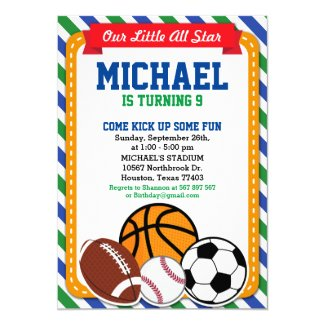 All Star Sport Birthday Party Invitation