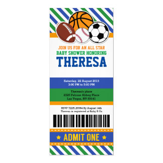 All Star Sport Ticket Pass Baby Shower Invitation