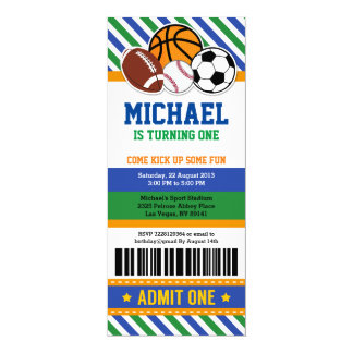 All Star Sport Ticket Pass Birthday Invitation