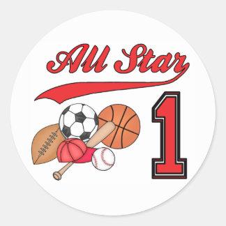 All Star Sports 1st Birthday Classic Round Sticker