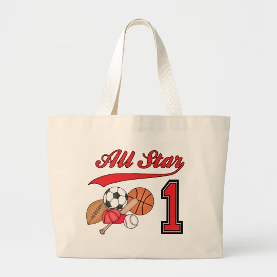 All Star Sports 1st Birthday Large Tote Bag