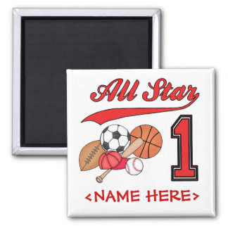 All Star Sports 1st Birthday Fridge Magnet
