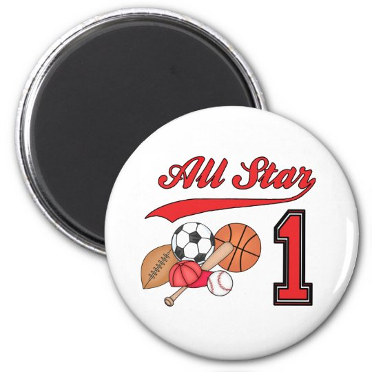 All Star Sports 1st Birthday Magnet