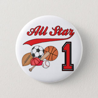 All Star Sports 1st Birthday Pinback Button