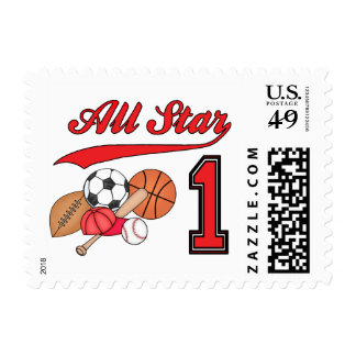 All Star Sports 1st Birthday Postage