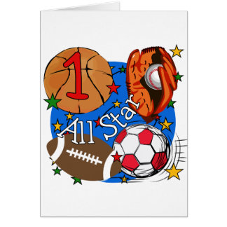All Star Sports 1st Birthday Tshirts and Gifts Greeting Card