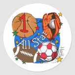 All Star Sports 1st Birthday Tshirts and Gifts Round Stickers
