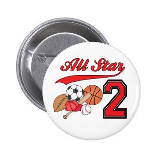 All Star Sports 2nd Birthday 2 Inch Round Button