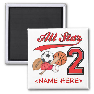 All Star Sports 2nd Birthday 2 Inch Square Magnet