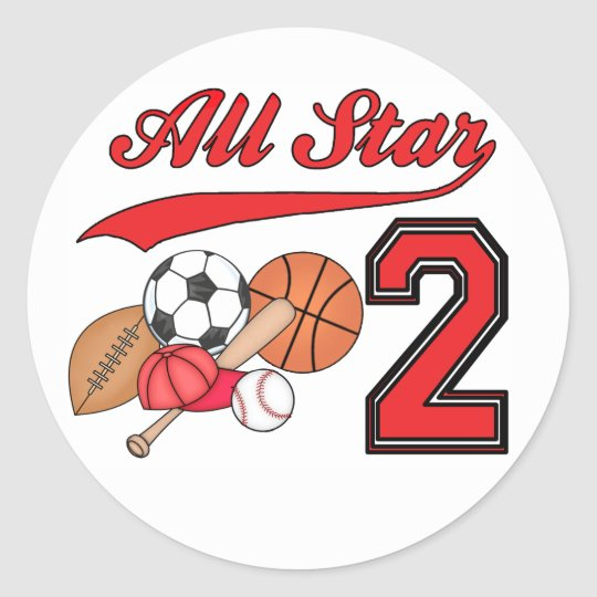All Star Sports 2nd Birthday Classic Round Sticker
