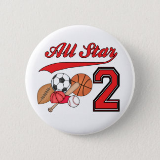 All Star Sports 2nd Birthday Pinback Button
