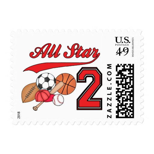 All Star Sports 2nd Birthday Postage
