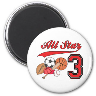 All Star Sports 3rd Birthday 2 Inch Round Magnet