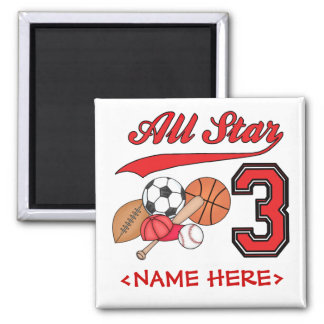 All Star Sports 3rd Birthday 2 Inch Square Magnet
