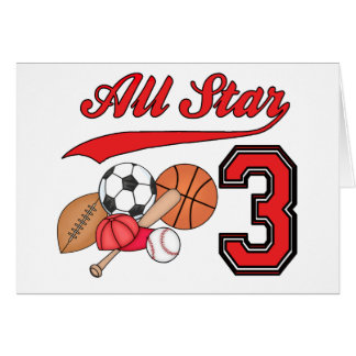 All Star Sports 3rd Birthday Invitations Stationery Note Card