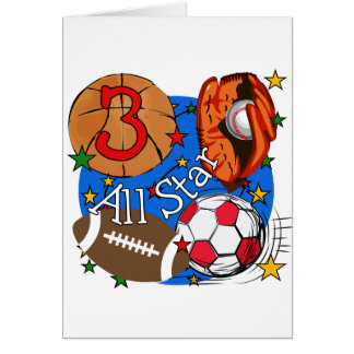 All Star Sports 3rd Birthday Tshirts and Gifts Cards