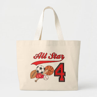 All Star Sports 4th Birthday Large Tote Bag