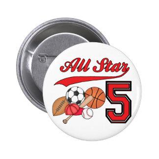 All Star Sports 5th Birthday 2 Inch Round Button