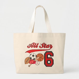 All Star Sports 6th Birthday Large Tote Bag