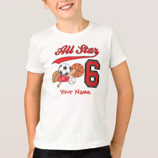 All Star Sports 6th Birthday Personalized T-Shirt
