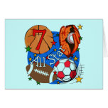 All Star Sports 7th Birthday Tshirts and Gifts Greeting Card