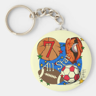 All Star Sports 7th Birthday Tshirts and Gifts Key Chains