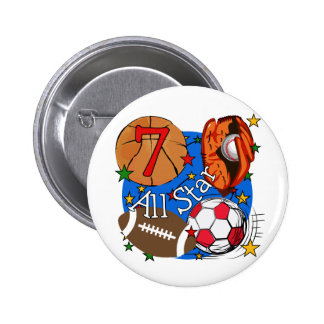 All Star Sports 7th Birthday Tshirts and Gifts Pinback Button
