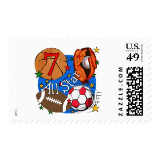 All Star Sports 7th Birthday Tshirts and Gifts Stamp