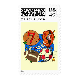 All Star Sports 7th Birthday Tshirts and Gifts Stamps