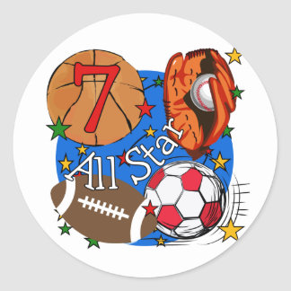 All Star Sports 7th Birthday Tshirts and Gifts Sticker